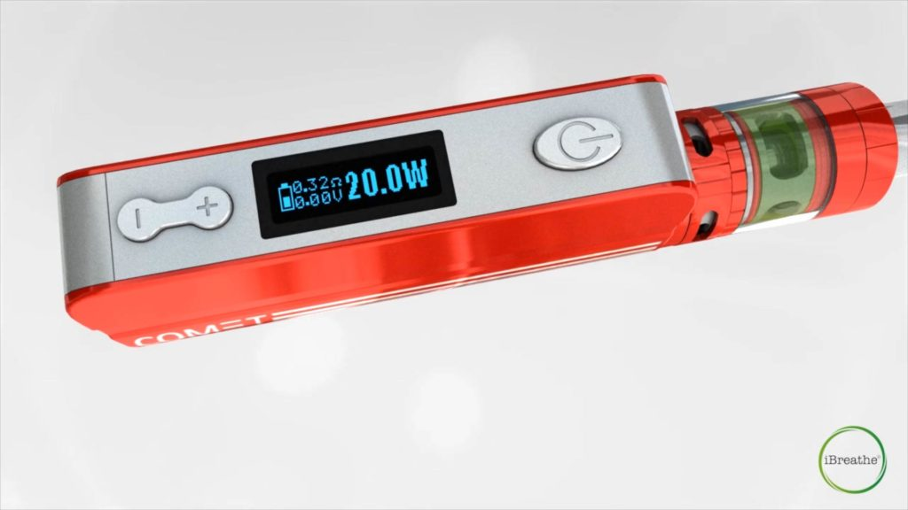 Floating red ibreathe commet e-cigarrette from the companies explainer video