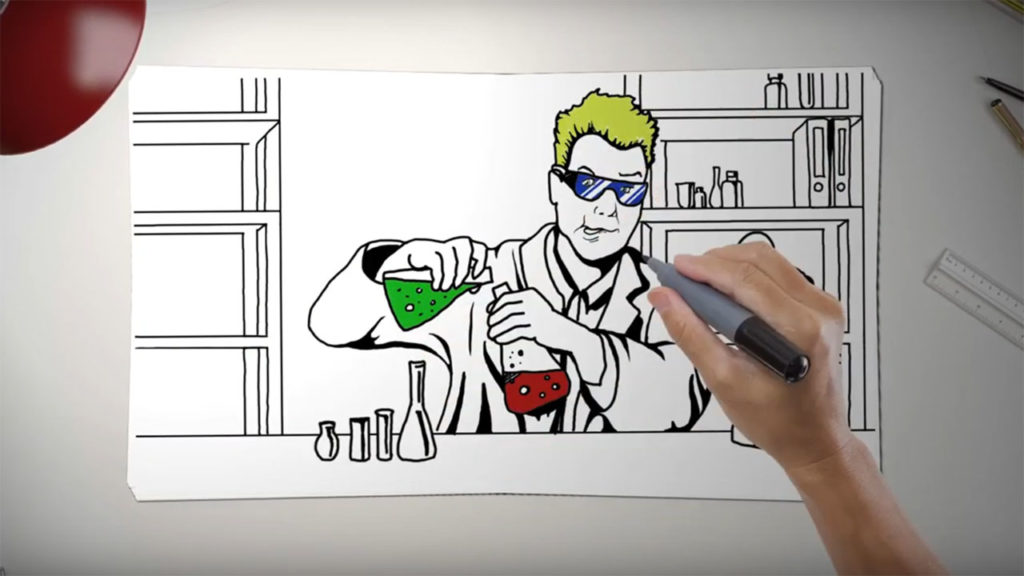 Sketch of scientist mixing a green and red chemicals from the University of Johannesburg faculty of health sciences animation