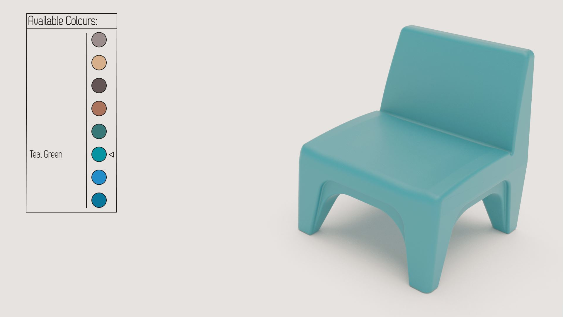 3D Rendering of Cranium chair showcasing the colour customisation options