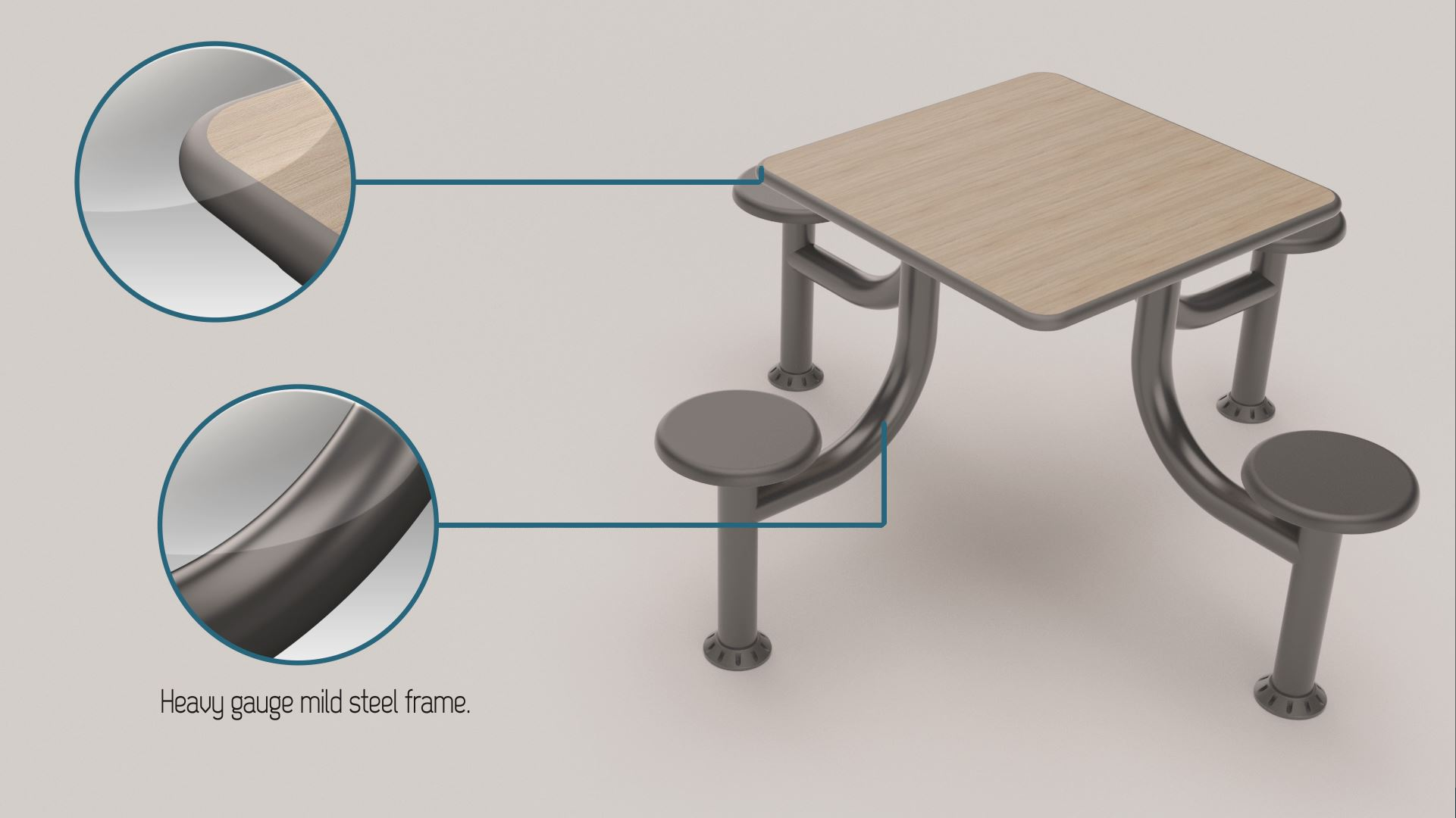 3D Rendering of a steel 4 seater square cranium table