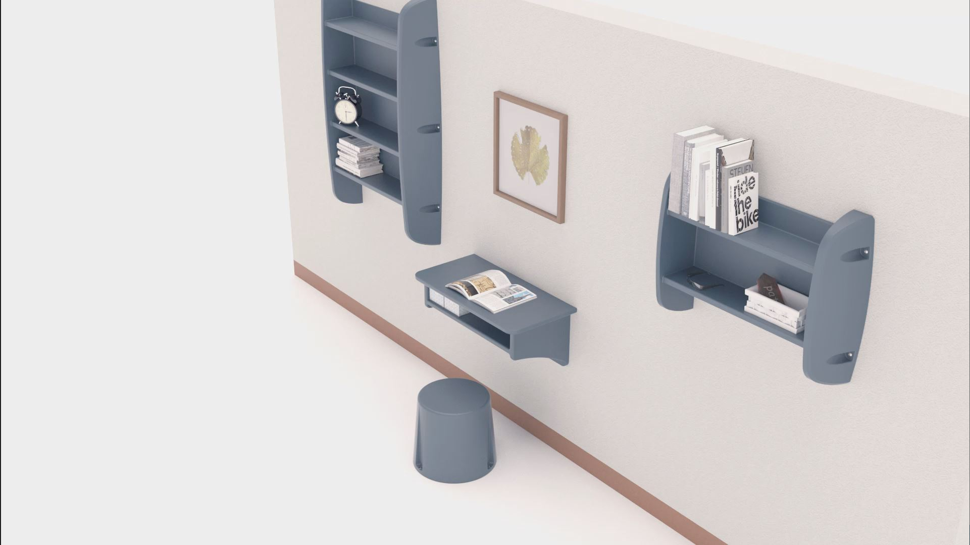 3D rendering of a wall featuring Cranium bedroom furniture in a grey colour