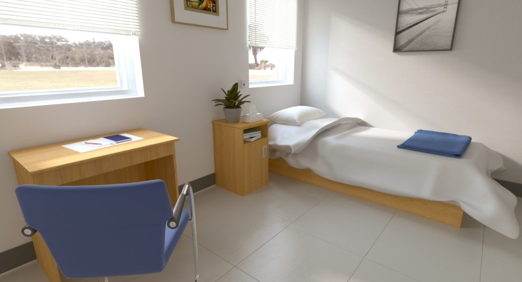 3D rendering of hospital room with cranium furniture