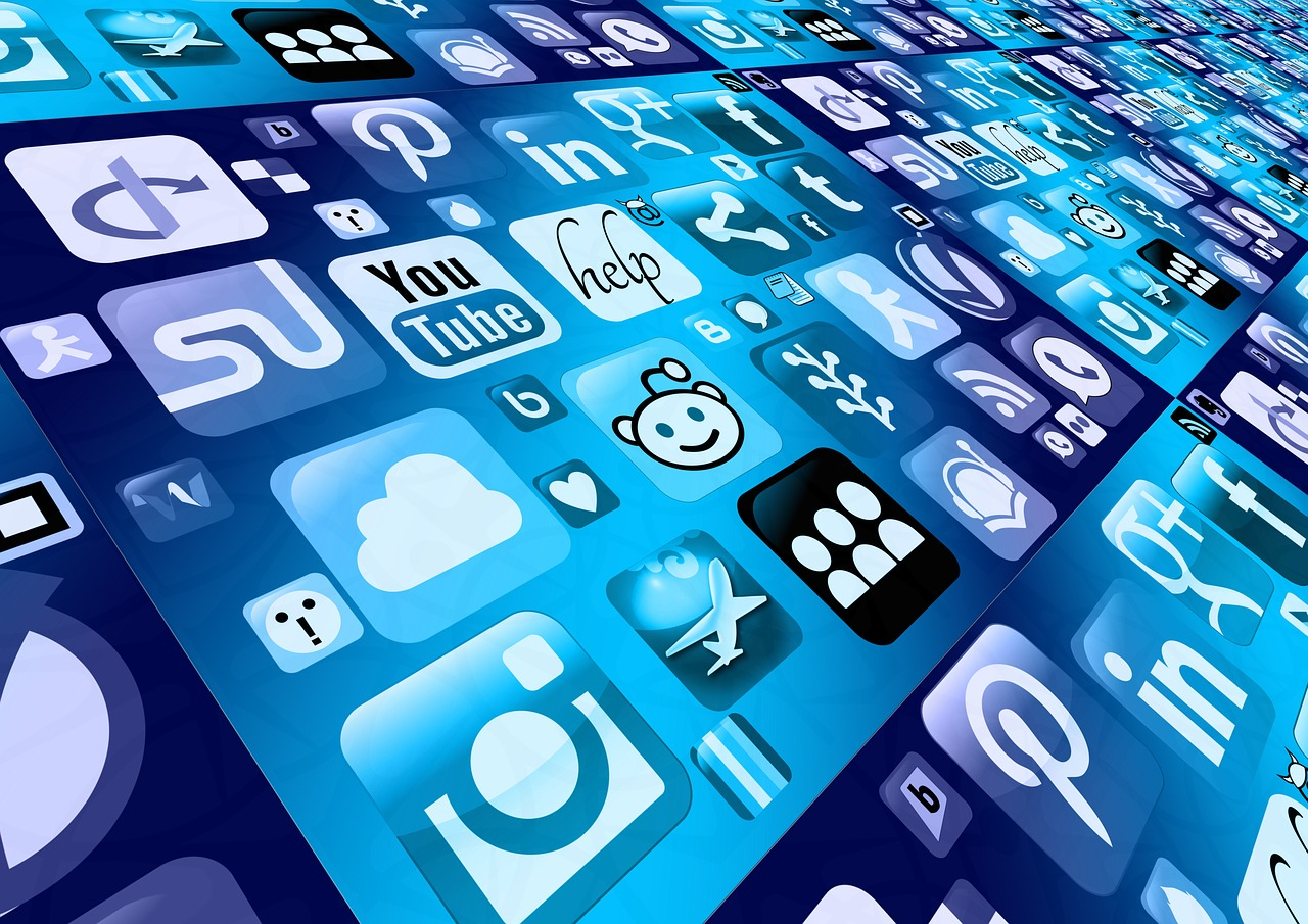 Mobile Phone screen with a range of onine platform icons that can help you start marketing